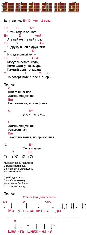 Аккорды песни Кузи Шняга шняжная (из т/сериала Универ)