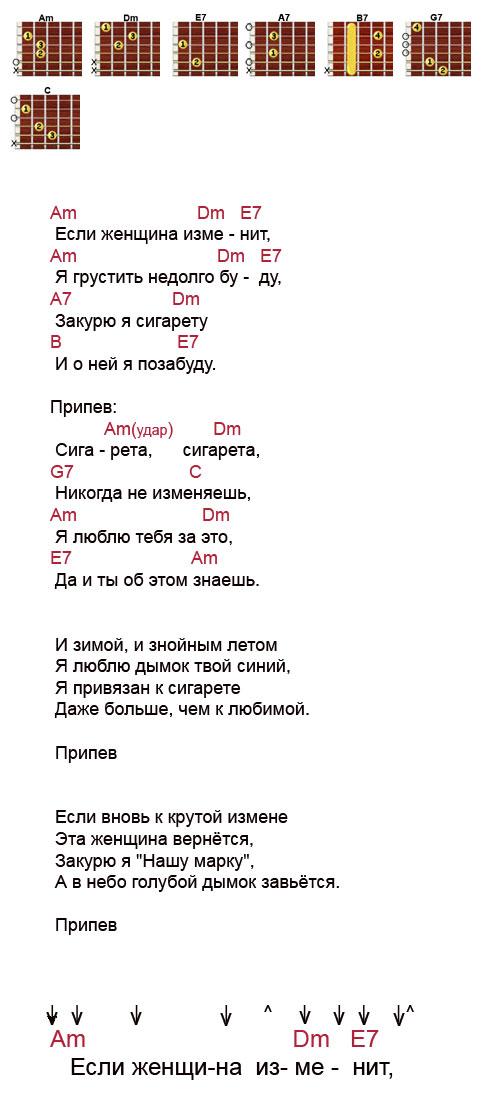 Аккорды песни «Сигарета сигарета» (Аркадий Северный)