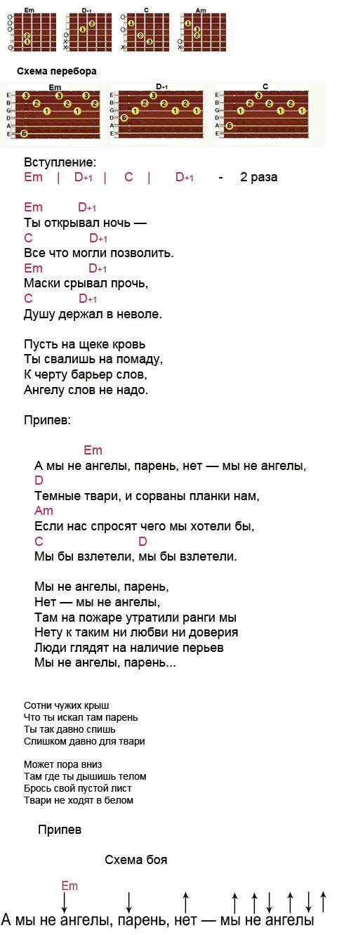 Аккорды к песне «А мы не ангелы парень» (Пономарев Алексей)