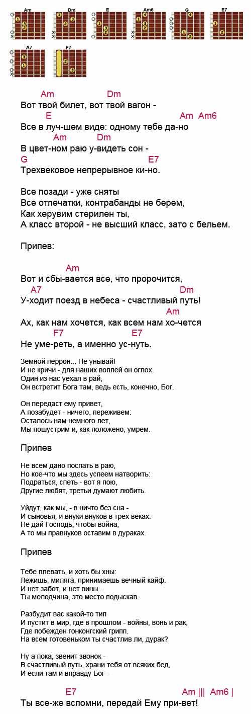 Аккорды «Баллада об уходе в рай» Высоцкий Владимир