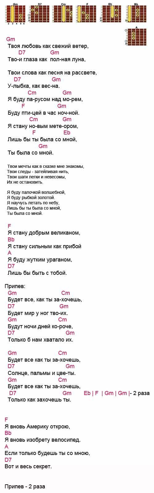 Аккорды к песне «Будет все как ты захочешь»Александр Шевченко
