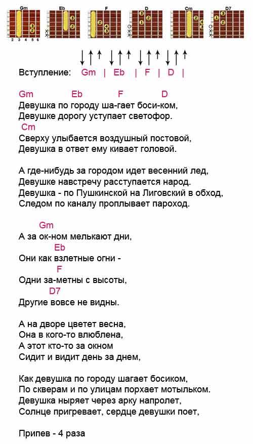 Аккорды к песне «Девушка по городу»(Вячеслав Бутусов)
