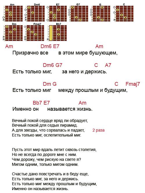 Аккорды песни Есть только миг из фильма Земля Санникова (Зацепин Александр)