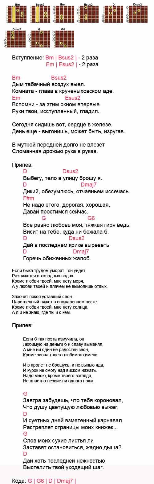 Аккорды к песне «Маяк» (Сплин)