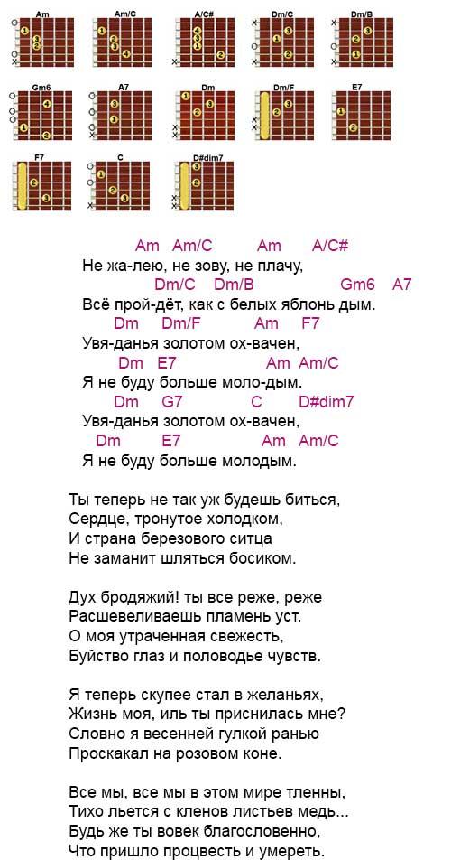 Аккорды и текст песни «Не жалею, не зову, не плачу» Есенин - Пономаренко