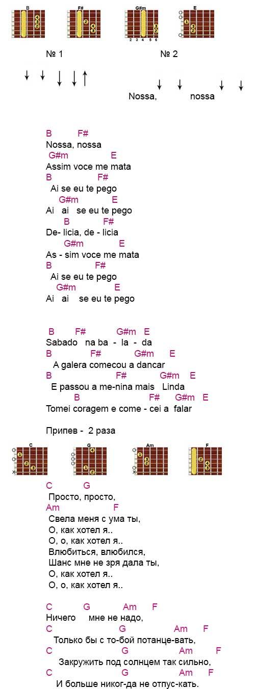 Текст и аккорды к песне «Носа, носа»