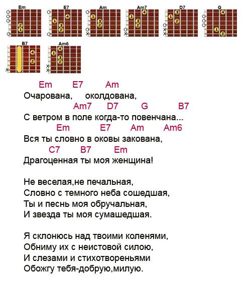 Аккорды к песне Очарована околдована (Михаил Звездинский) | AKKORDY.SU