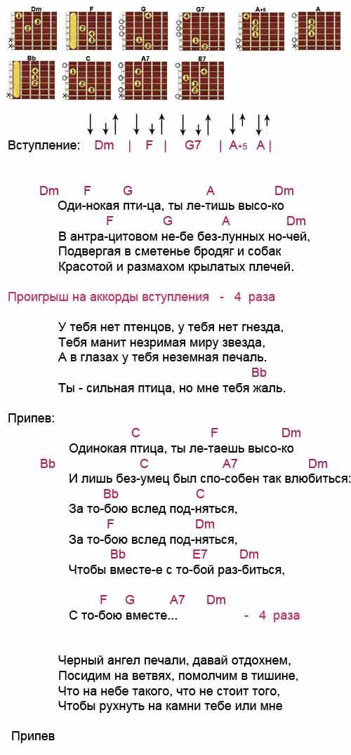 Аккорды к песне «Одинокая птица» (Наутилус - Бутусов)