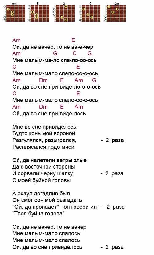 Аккорды к песне «Ой то не вечер» (народные)