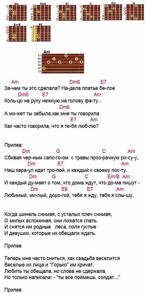 Аккорды к песне «Платье белое»(Виктор Петлюра)