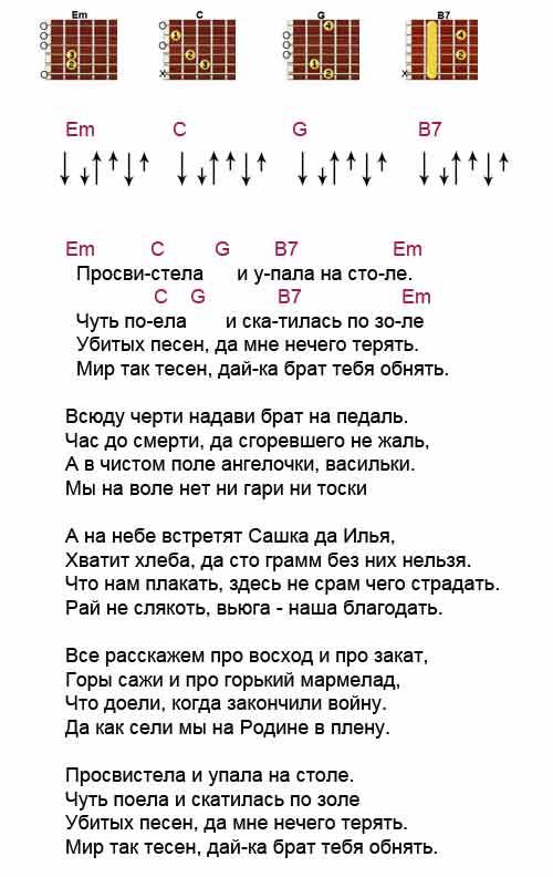 Аккорды к песне «Просвистела» ( ДДТ - Шевчук )