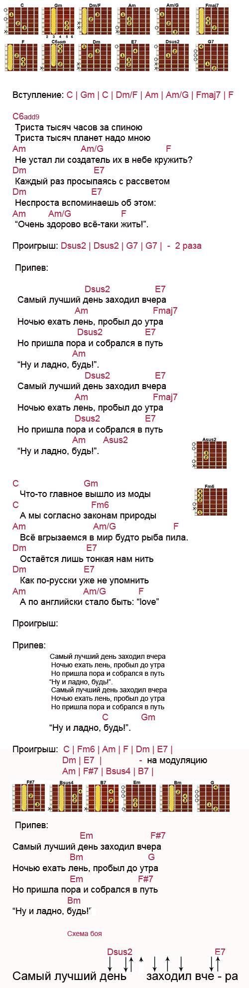 Аккорды к песне Самый лучший день (Лепс Григорий)