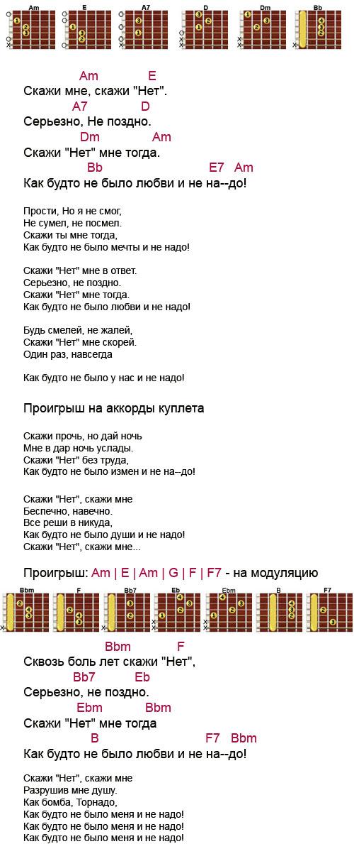 Аккорды к песне «Скажи нет» (Бублик Михаил)