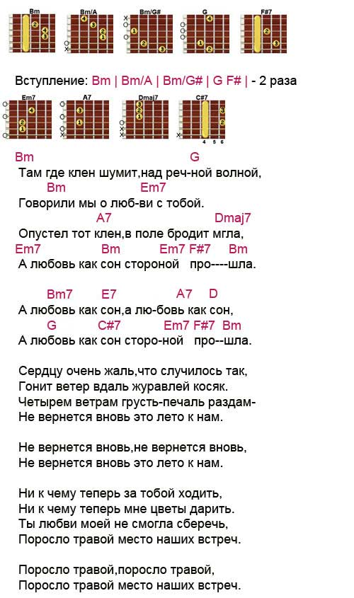 Аккорды песни «Там где клен шумит»
