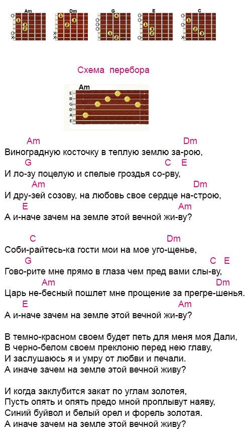 «Грузинская песня» (Виноградная косточка) аккорды (Булат Окуджава)