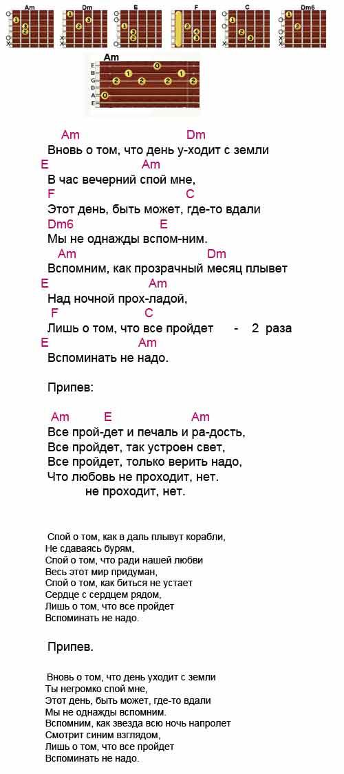 Аккорды к песне «Все пройдет» (Михаил Боярский)