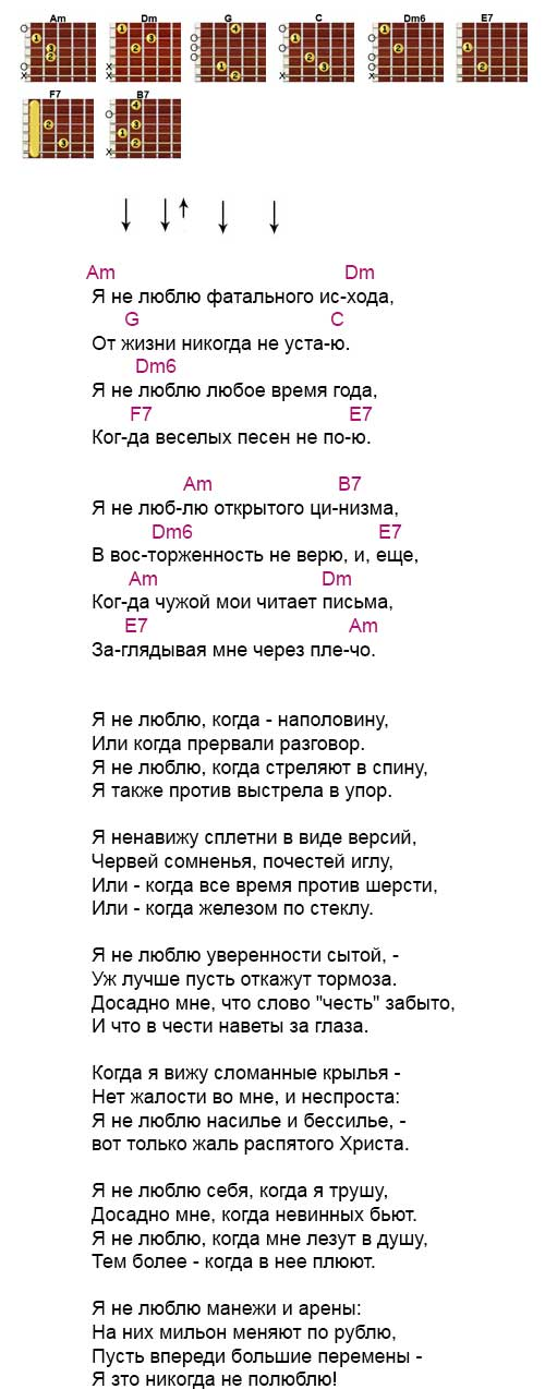Аккорды «Я не люблю» Высоцкий