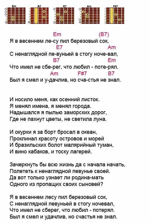 Аккорды к песне «Я в весеннем лесу» из кинофильма Судьба резидента