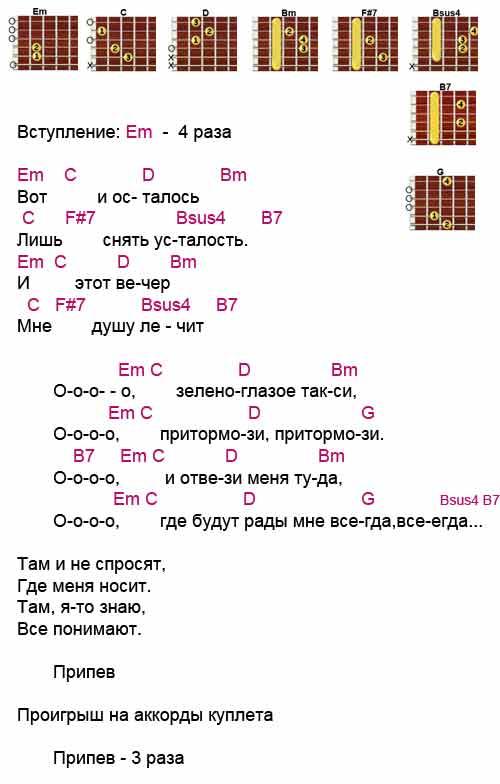 Аккорды к песне «Зеленоглазое такси» (Михаил Боярский)