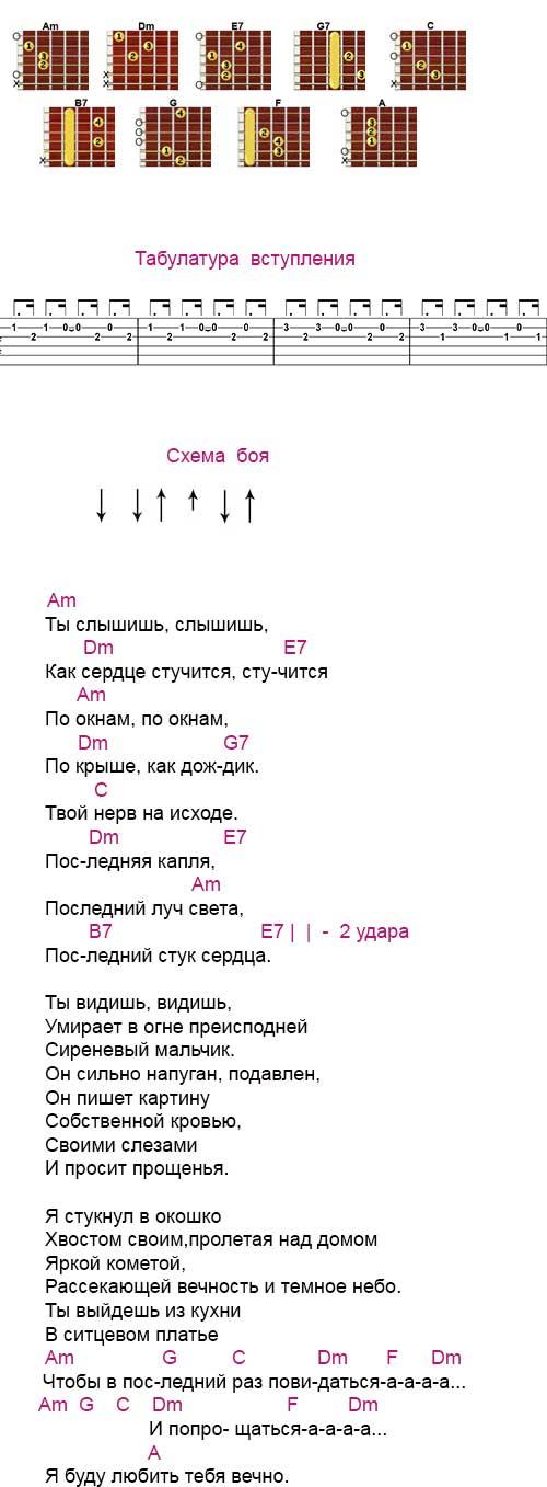 Аккорды «Последняя песня» (Найк Борзов)
