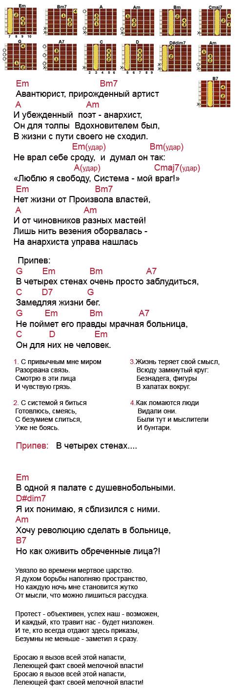 Аккорды песни Бунтарь (Король и Шут - КиШ)