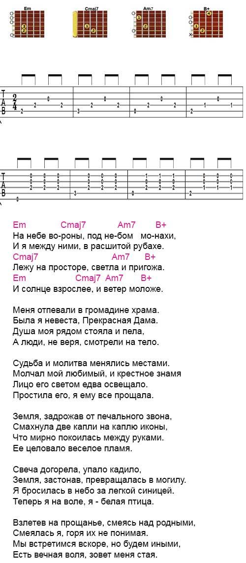 Аккорды и табы песни «На небе вороны»  (Шевчук - ДДТ)