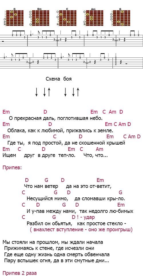 Аккорды к песне  «Ветер»(ДДТ - Шевчук)
