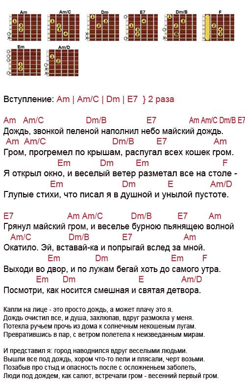 Аккорды песни Дождь (ДДТ - Шевчук)