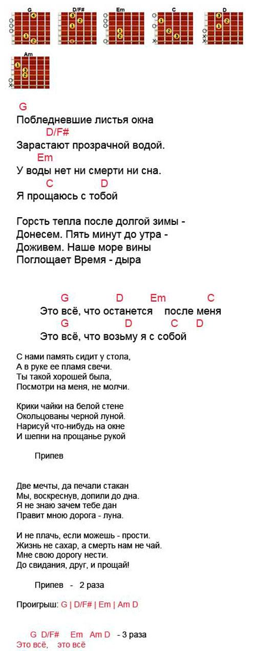 Аккорды песни Это все (ДДТ - Шевчук)