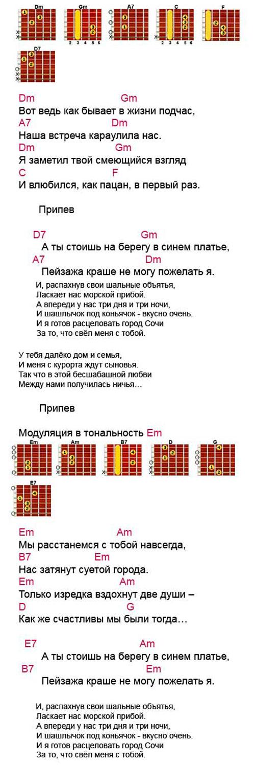 Аккорды  Город Сочи (Трофим)