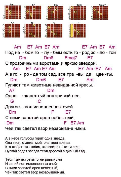 Аккорды песни Город золотой (Гребенщиков - Аквариум)
