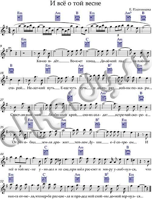 Ноты песни «И всё о той весне» аккорды