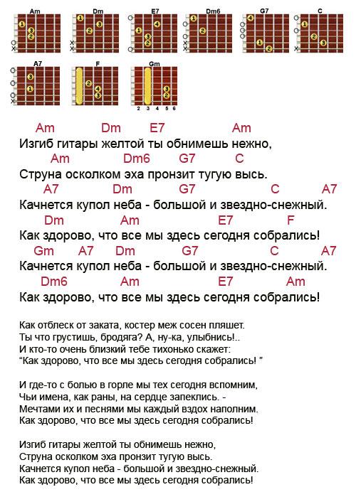 Аккорды песни «Изгиб гитары желтой - Как здорово» Митяев Олег