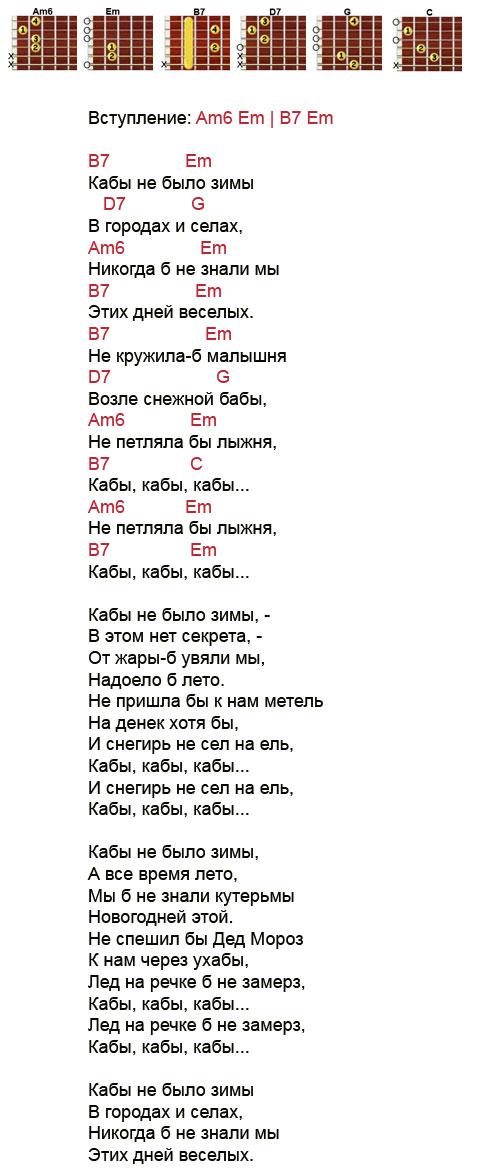 Аккорды песни Кабы не было зимы из мульфильма Каникулы в простоквашино