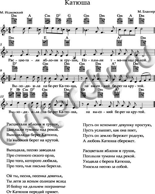 Ноты «Катюша» аккорды