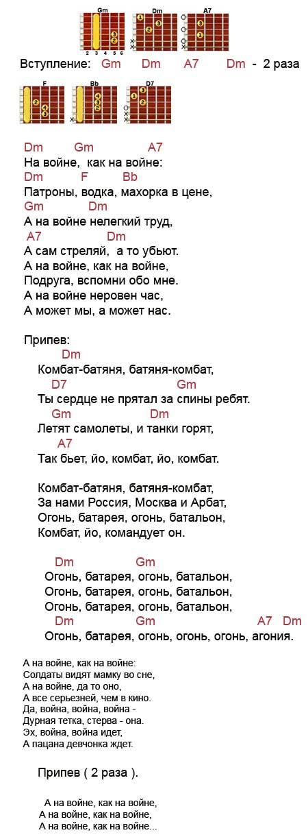 Аккорды песни Комбат (Любэ - Расторгуев)