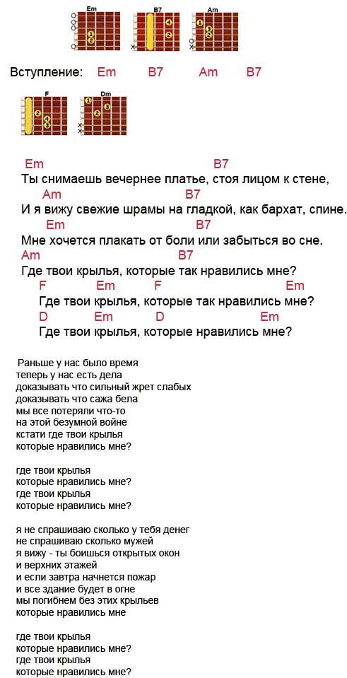 Аккорды песни Крылья (Наутилус, Бутусов)