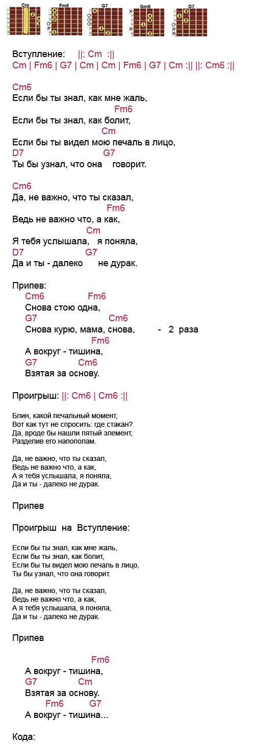 Аккорды к песне «Курю» (Ваенга Елена)