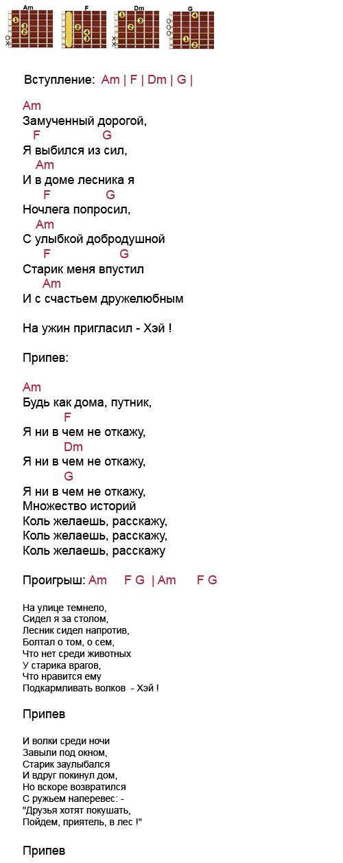Аккорды песни Лесник ( Король и Шут - КиШ)