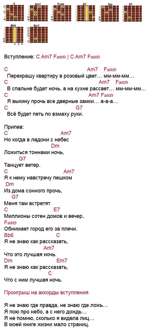 Аккорды Лучшая ночь (Максим)