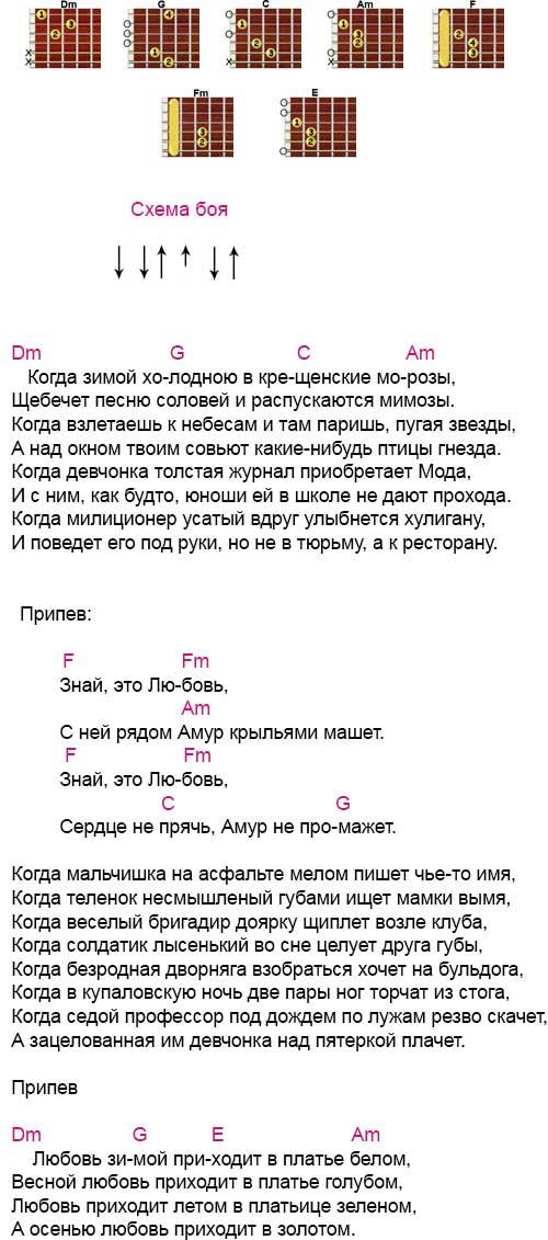 Аккорды «В платье белом» Ляпис Трубецкой