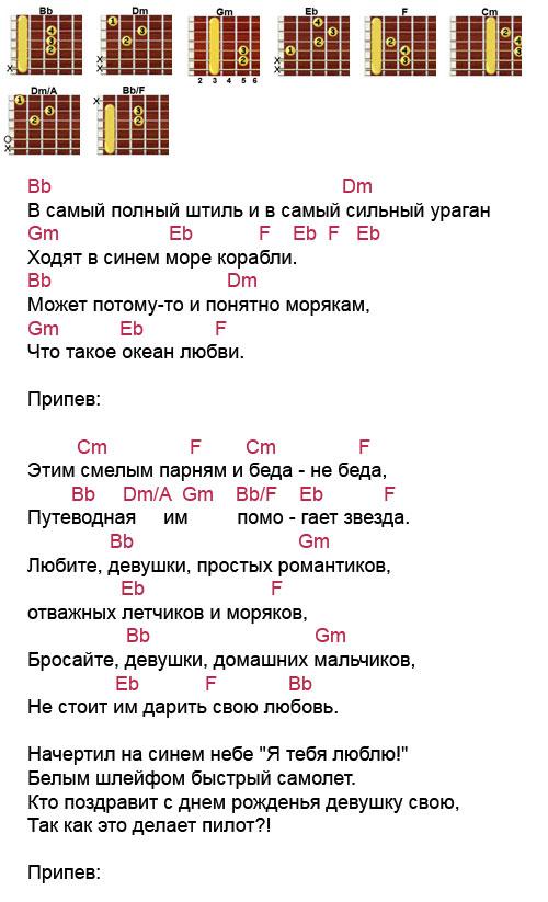 Аккорды песни «Любите девушки» (Браво - Сюткин)