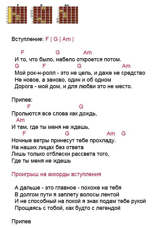 Аккорды песни Мой рок-н-ролл (Би 2 - Чичерина)