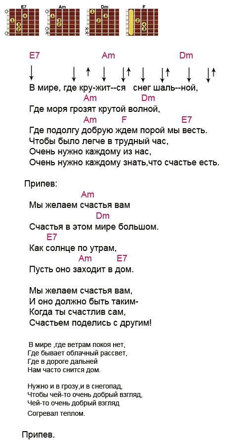 Ноты с аккордами к песне «мы желаем счастья вам» (цветы намин.