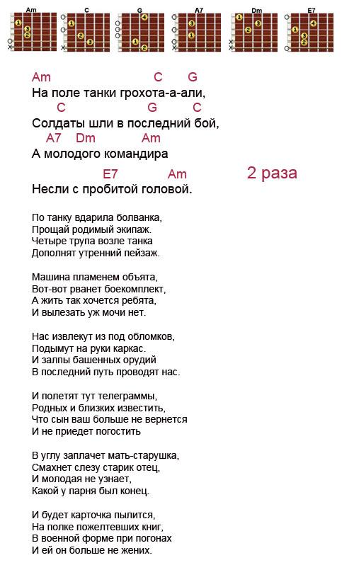 Аккорды к песне «На поле танки грохотали» (Чиж)