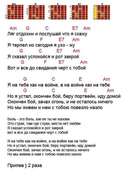 Аккорды песни На войне как на войне (Агата Кристи)