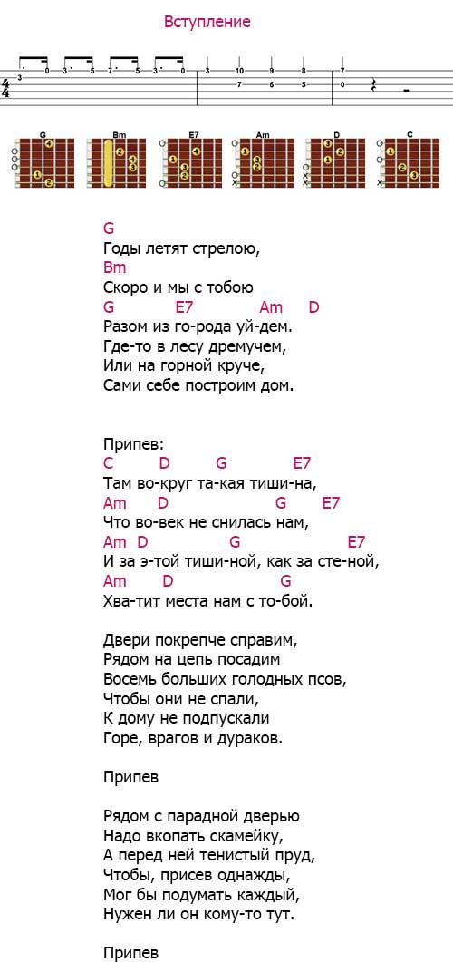 Аккорды «Наш дом» (Машина времени - Макаревич)
