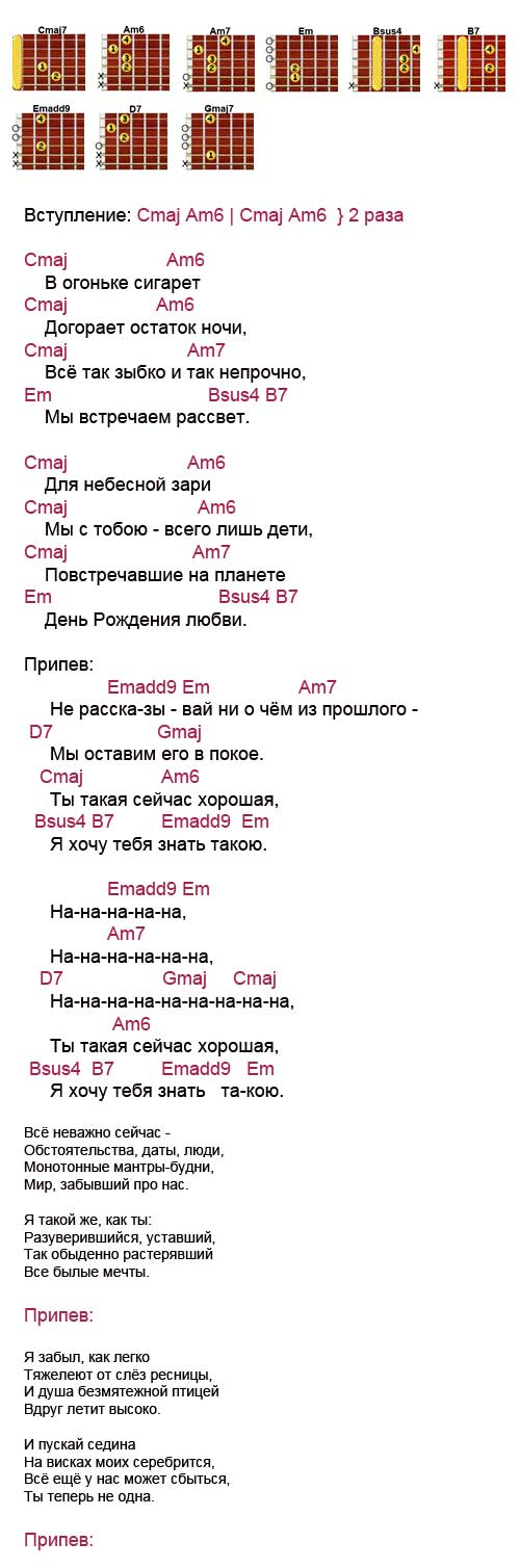 Аккорды песни «Не рассказывай» (Трофим)