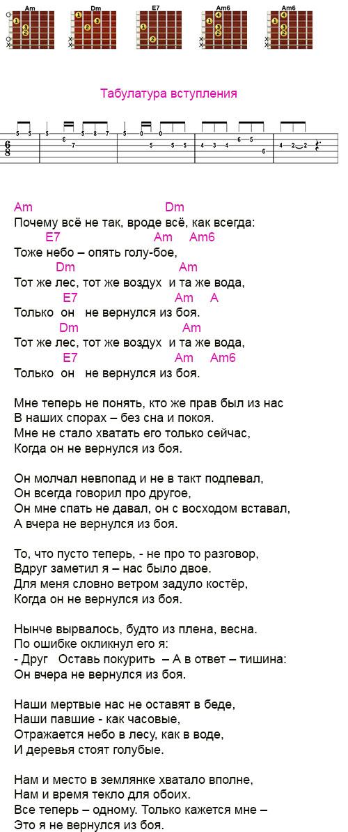 Аккорды «Он не вернулся из боя» Высоцкий