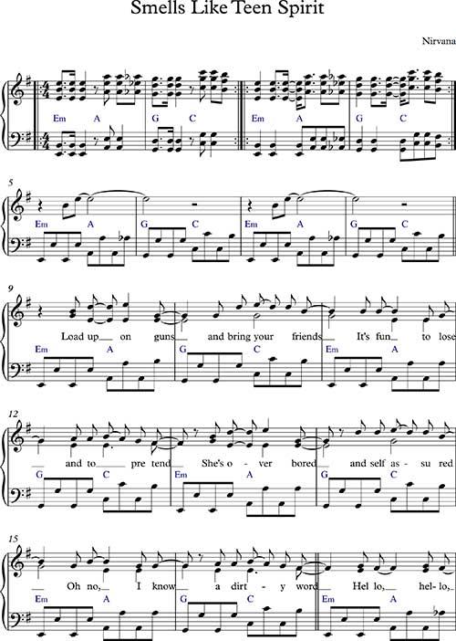 Smells Like Teen Spirit - простые ноты для фортепиано